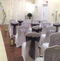 Plum & Lilac Organza Chair Sashes | Wedding | Carlisle | Cumbria | Lake District | Cockermouth | Gretna | Newcastle |Hundith House Hotel Ullswater