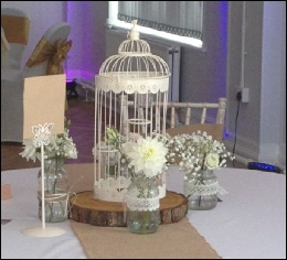 Ivory Tall 4-tealight Holder Bird Cage (H: 48cm) to hire | Wedding | Events | Carlisle | Cumbria | Creighton Rugby Club | Rustic Hessian Wedding