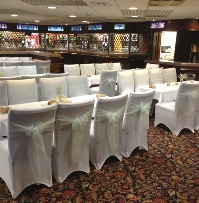 Tiffany Blue Crystal Organza Chair Sashes with white chair cover | Wedding | Carlisle | Cumbria | Lake District | Gretna | Newcastle | Harraby Catholic Club