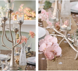 Champagne Gold 5-Arm Candelabra to Hire | Weddings & Events | Carlisle | Cumbria | Centre Pieces to Hire