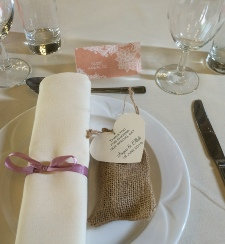 Ivory Table Linen with Napkins and Coordinating Ribbons to hire | Carlisle | Cumbria