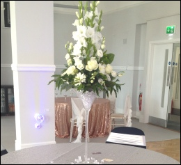 Fresh Floral Display from Emma's Flowers with martini glass | Wedding Old Fire Station | Events | Carlisle | Cumbria | North West | Lake District | Gretna | Dumfries