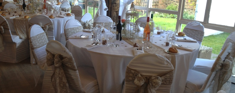 Hessian & Lace Chair Sashes with ruched Chair Covers | Carlisle | Cumbria | UK