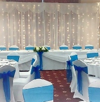 Royal Blue Crystal Organza with white chair coverss | Wedding | Carlisle | Cumbria | Lake District | Gretna | Newcastle | Greenhill Hotel