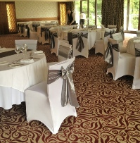 Silver Grey Taffeta Chair Sashes with Runners & white chair cover | Wedding & Birthdays | Carlisle | Cumbria | Lake District | Gretna | Newcastle | Armathwaite Hall Hotel