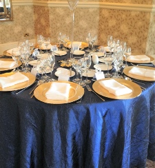 Navy Blue Crushed Taffeta Table cloth to Hire Carlisle | Luxury  Lake District | Cumbria | North West | East | UK  Birthdays | wedding | Events