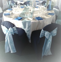 Ice Blue Taffeta Chair Sash with Navy Blue Chair Covers| Wedding | Carlisle | Cumbria | Lake District | Gretna | Newcastle | Race Course