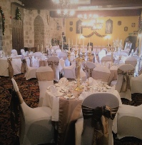 Wheat Taffeta with Diamante & Pearl Snowflake & Matching Runners with white chair covers | Wedding | Carlisle | Cumbria | Lake District | Gretna | Newcastle | Langley Castle Hexham