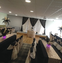 Champagne Gold Taffeta Chair Sashes on Black chair cover| Wedding | Carlisle | Cumbria | Lake District | Gretna | Newcastle | Netherall Rugby Club
