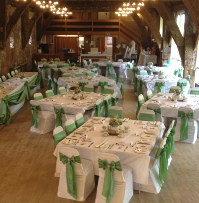 Sage Green Taffeta with diamante/pearl embellisment White Ruched Chair Covers | Wedding | Carlisle | Cumbria | Lake District | Gretna | Newcastle | Tithe Barn