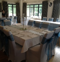 King Fisher Blue Organza with white chair coverss | Wedding | Carlisle | Cumbria | Lake District | Gretna | Newcastle | Heather Glenn Hotel