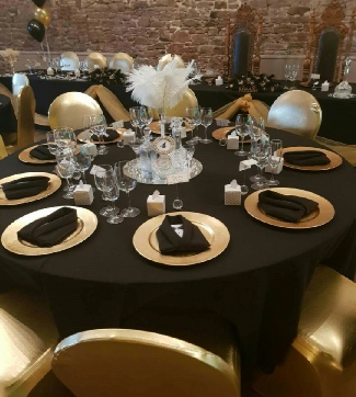 Gold Charger Plates to hire | Black & Gold Weddings | Events | Carlisle | Cumbria