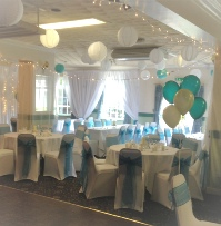 Teal Green Crystal Organza with white chair cover | Wedding | Carlisle | Cumbria | Lake District | Gretna | Newcastle | Pinegrove Hotel