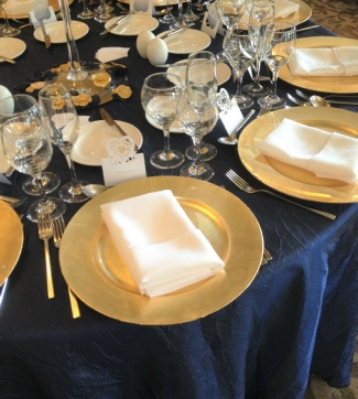 Gold Charger Plates to Hire | Navy & Gold Weddings | Events | Carlisle | Cumbria | Lake District | Inn on the Lake