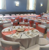 Coral Taffeta Chair Sashes & Runners (bespoke) White Chair Covers | Wedding | Carlisle | Cumbria | Lake District | Gretna | Newcastle | Langholm