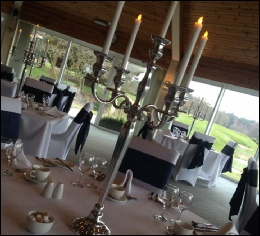 Silver 80cm Candelabra with LED Dinner Candles to hire | Carlisle Golf Club |  Wedding | Events | Carlisle | Cumbria | Tithe Barn | Rustic Hessian Wedding