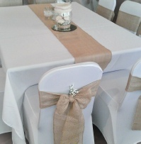 Hessian sashes with runners and gypsophila | Wedding | Carlisle | Cumbria | Lake District | Gretna | Newcastle