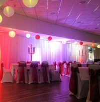 Red Taffeta Chair Sashes with Runners & white chair cover | Wedding & Birthdays | Carlisle | Cumbria | Lake District | Gretna | Newcastle | Morton Manor