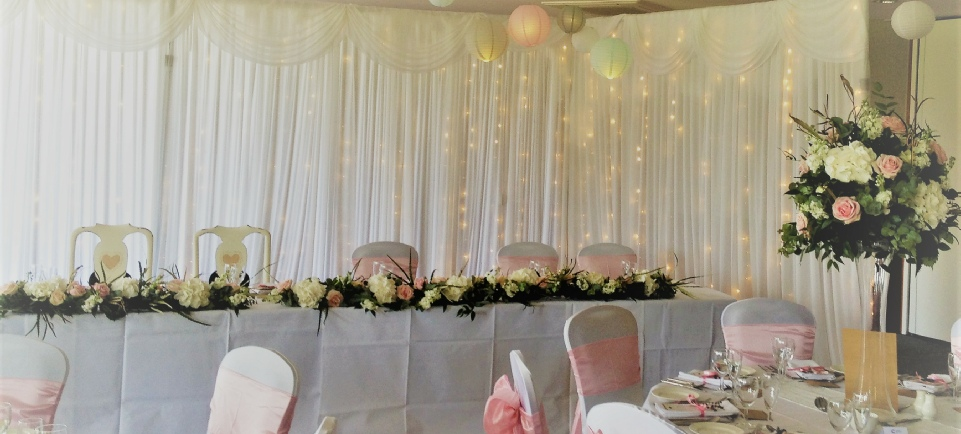 Hundith Hill | Pastel Wedding |L Shaped Fairy Light Backdrop | Carlisle | Cumbria | Roses & Hearts